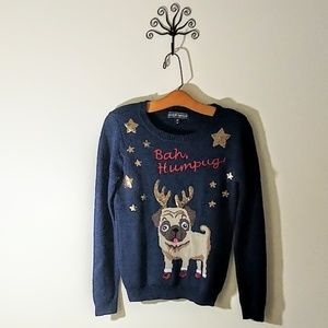 Almost Famous Sweaters - Pug Dog Ugly Christmas Sweater Almost Famous